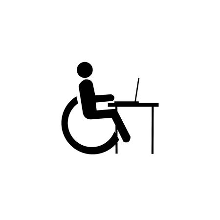 disabled worker illustration over white color background