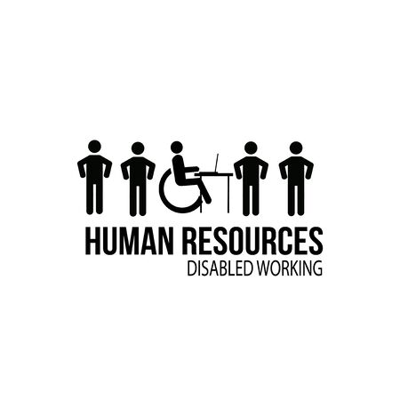 human resources disabled worker illustration over white color background Illusztráció