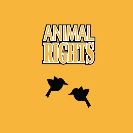 Droits de l'animal illustration sur fond orange couleur Vecteurs