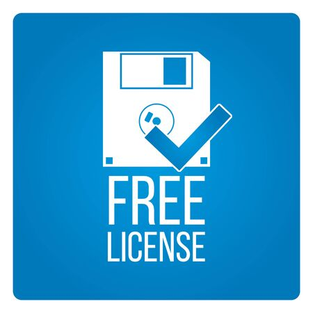 freeware: Free license vector over blue color background Illustration
