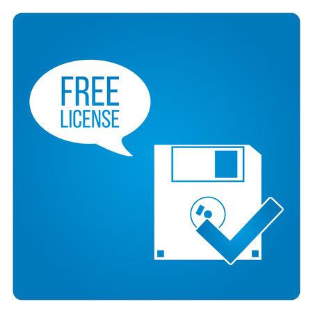 shareware: Free license vector over blue color background Illustration