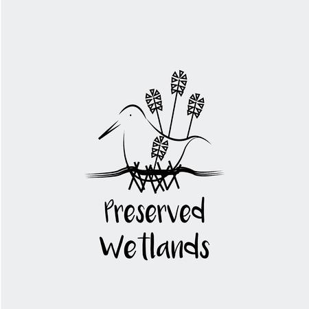 wetland: Preserved Wetlands vector over white color background