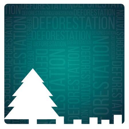 cutting sticker: landscape deforestation design
