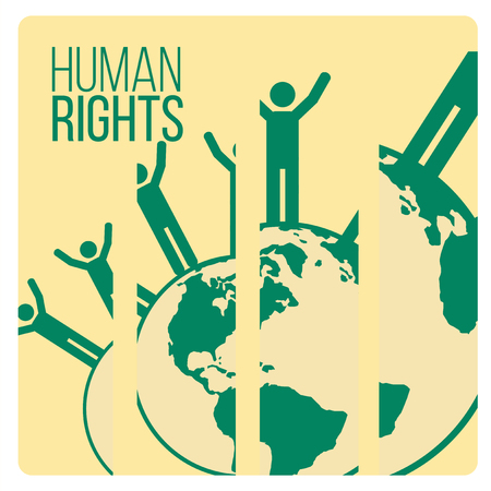 peace stamp: Human Rights Design over yellow color background