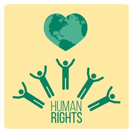 Human Rights ontwerp op gele achtergrond kleur