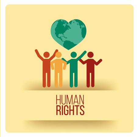 Progettazione dei diritti umani su sfondo giallo Vettoriali