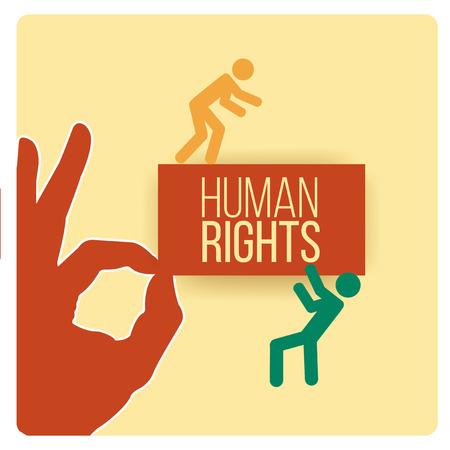 derechos humanos: Diseño de derechos humanos sobre el fondo de color amarillo