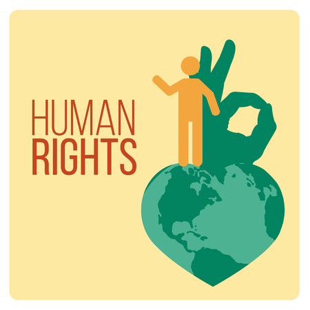 human rights: Human Rights Design over yellow color background