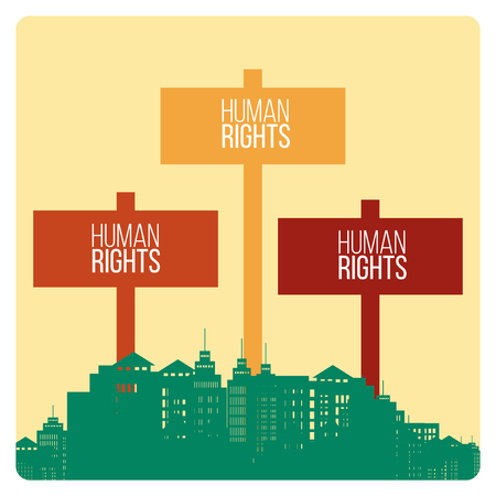 human finger: Human Rights Design over yellow color background
