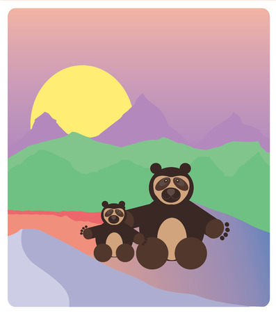 spectacled: Spectacled Bear over mountains background Illustration