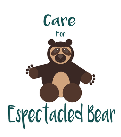 spectacled: Care for espectacled bear over white coor background Illustration
