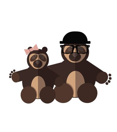 spectacled: Spectacled Bear couple over white color background