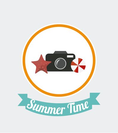 time over: summer time icon over white color