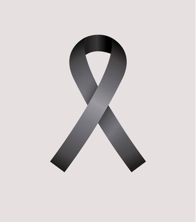 condolence: Black Ribbon, condolence icon over gray color background Illustration