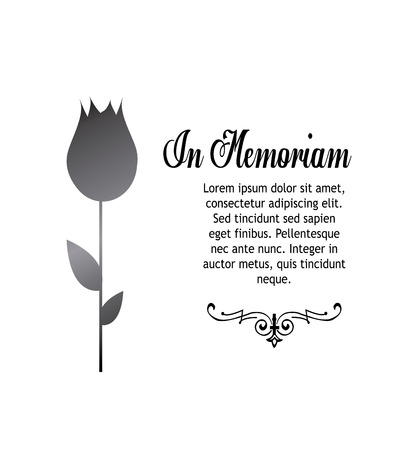 In memoriam, condolences icon over gray color background Çizim