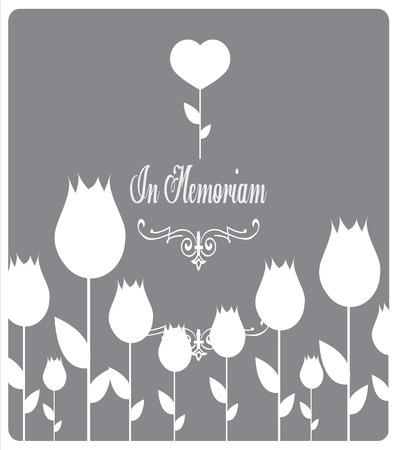In memoriam, condolences icon over gray color background Vector Illustration