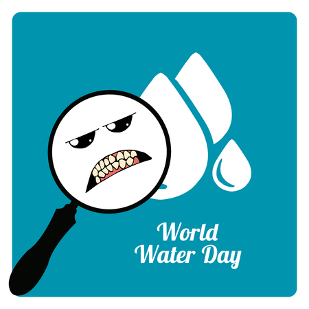 environmental awareness: magnifiers in the world water day in blue color
