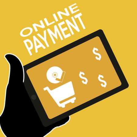 on-line illustrazione piatta pagamento a colori Vettoriali