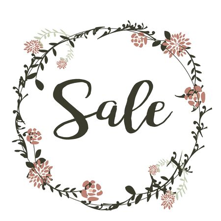 desing: Boho Sale Desing in color with flowers and leaves