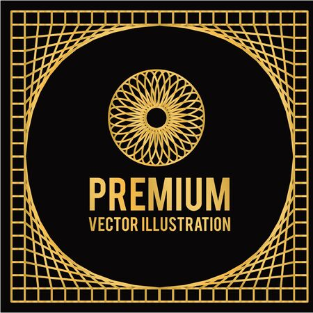 thirties: premium geometric design in golden color and black backdrop