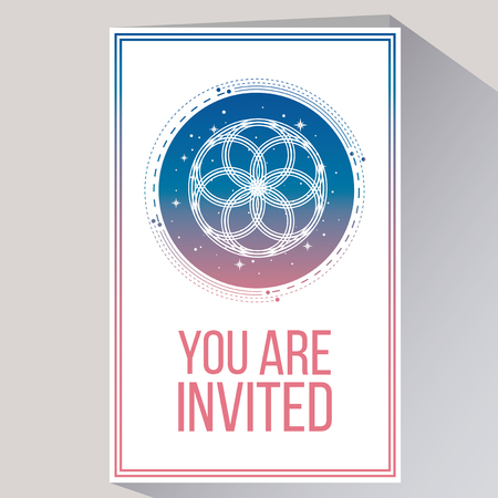 you are invited in white color backdrop and flat design