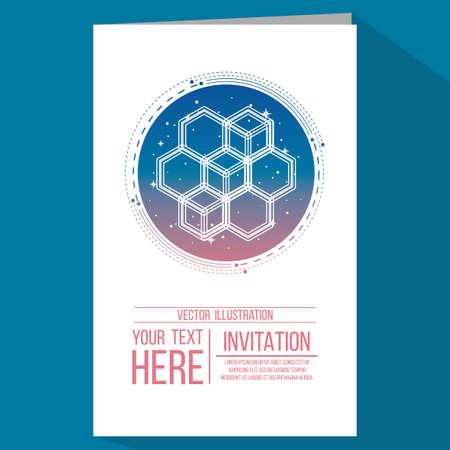 geometry invitation in blue color backdrop Vector Illustration