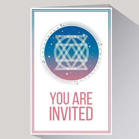 you are invited: you are invited in white color backdrop and flat design