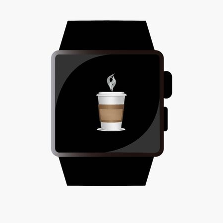 breackfast: smart watch design in white backdrop