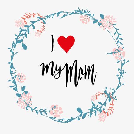 Les mères carte de jour en blanc couleur fond cinque couronne de fleurs