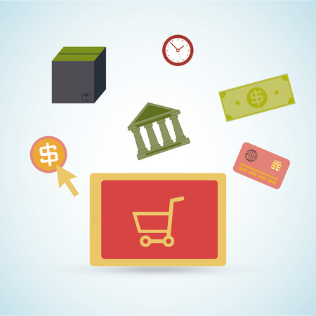 degrade: Online Shopping set Design, vector in degrade color backdrop