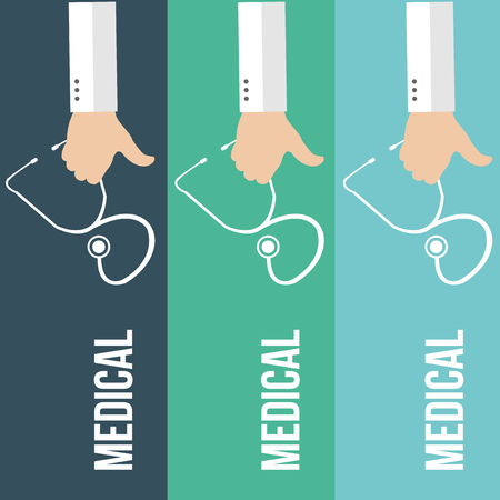 three hands: three hands holding  white stethoscope  in blue and green lines backdrop
