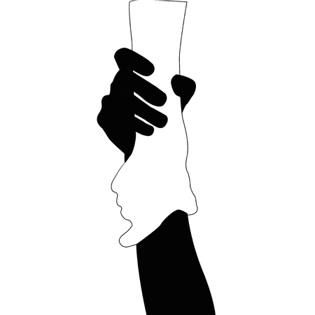 helping: Helping hands , vector black and white on white background