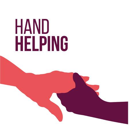 Helping Hands, kleurrijke vector op een witte achtergrond