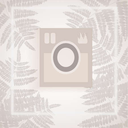 lent: white camera in white and gray tropical leaves backdrop Illustration