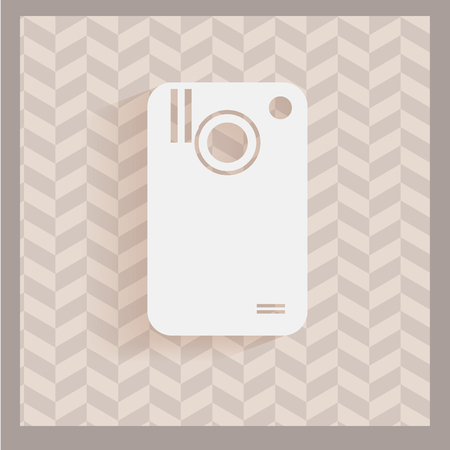 white camera cell in gray lines backdrop