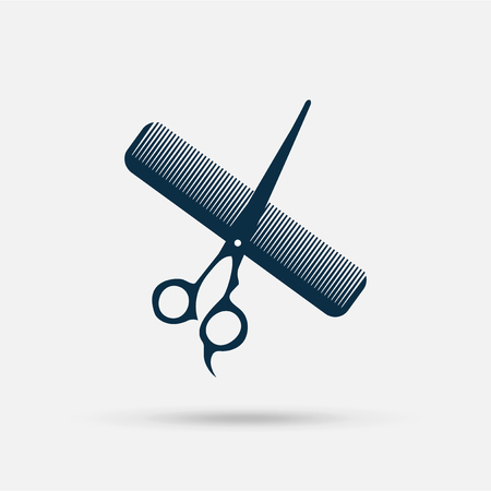 crusades: barber shop  icon blue, scissors and comb on white background with shadow Illustration