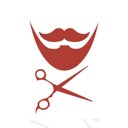 barber scissors: red barber and scissors icons over white color backdrop