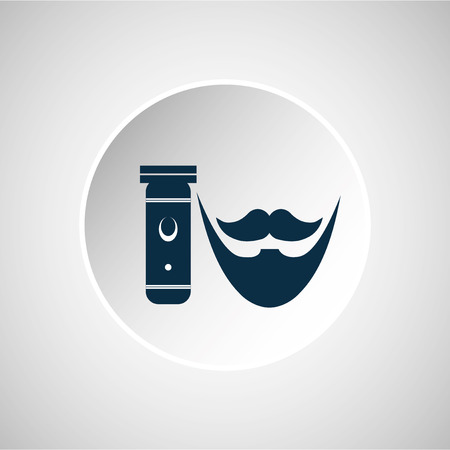 electric shaver: blue barber and electric shaver button over gray backdrop