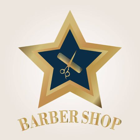 scissors comb: barber shop stamp star shape inside scissors comb on color background