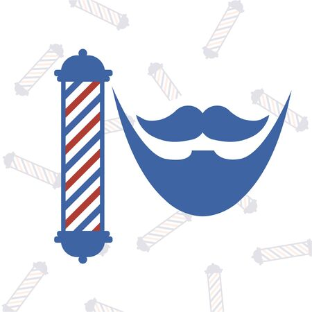barbershop pole: red and blue barber and pole icons over texture poles backdrop