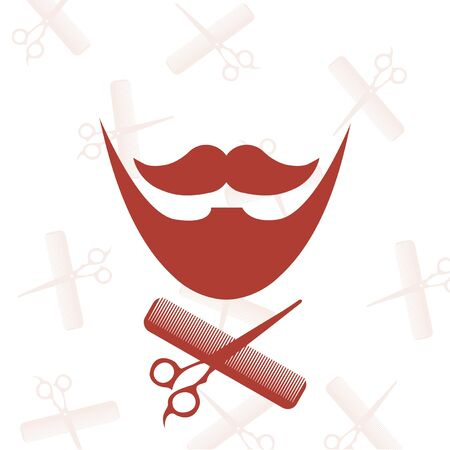 barber scissors: red barber, comb and scissors icons over white color backdrop