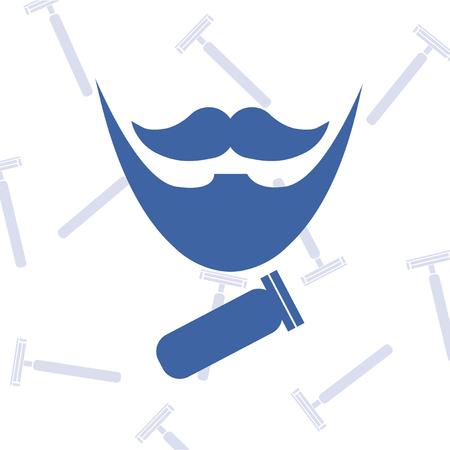 electric razor: blue barber and electric razor icons over texture razors backdrop