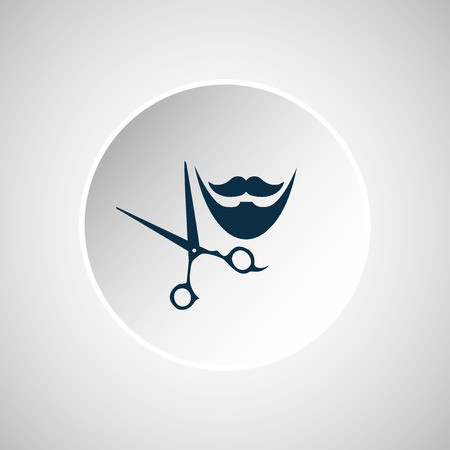 barber scissors: blue barber and scissors button over gray color backdrop