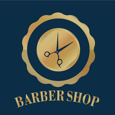 barber scissors: stamp barber shop with scissors  in gold on a blue background
