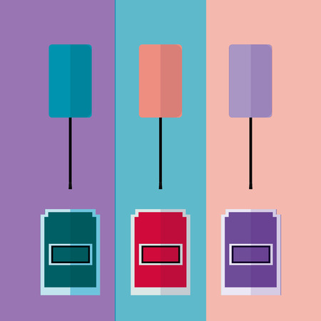 enables: cosmetic products, three botles enables vector  over colors backdrop Illustration