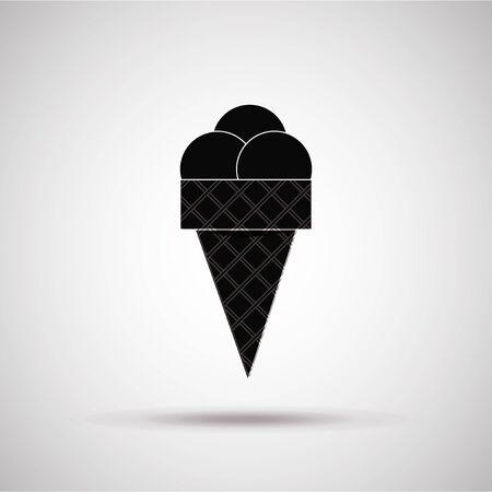 degrade: ice cream silhouette, illustration in gray degrade color backdrop Illustration