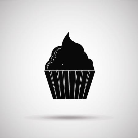 degrade: muffin silhouette, illustration in gray degrade color backdrop Illustration