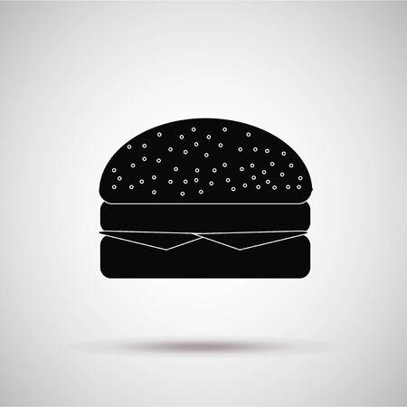 degrade: hamburger silhouette, illustration in gray degrade color backdrop Illustration