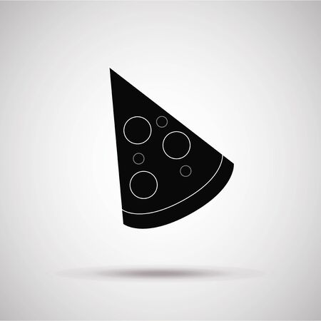 portion: portion of the pizza silhouette, illustration in gray degrade color backdrop Illustration