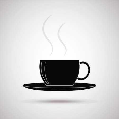 degrade: hot drink or coffee cup silhouette, illustration in gray degrade color backdrop